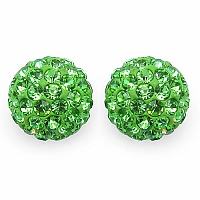 2.40 Grams Green Crystal .925 Sterling Silver Ball Shape Earrin