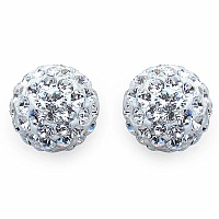 2.10 Grams White Crystal .925 Sterling Silver Ball Shape Earrin