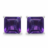 2.25CTW 6.00mm Square Shape Genuine Amethyst .925 Sterling Silv
