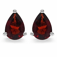 1.63CTW 7x5mm Pear Shape Genuine Garnet .925 Sterling Silver Ea