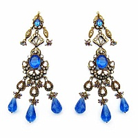49.60 Grams White Cubic Zirconia & Blue Glass Gold Plated Br