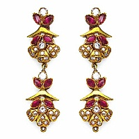 13.00 Grams White Cubic Zirconia & Pink Glass Gold Plated Br