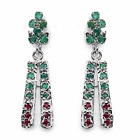 5.96 Grams Genuine Emerald & Ruby Rhodium Plated Brass Earri