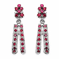 6.20 Grams Genuine Ruby Rhodium Plated Brass Earrings