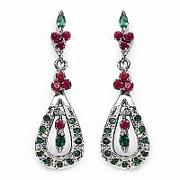 7.60 Grams Genuine Emerald & Ruby Rhodium Plated Brass Earri