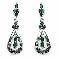 7.60 Grams Genuine Emerald Rhodium Plated Brass Earrings