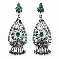 14.20 Grams Genuine Emerald Rhodium Plated Brass Earrings