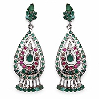 13.93 Grams Genuine Emerald & Ruby Rhodium Plated Brass Earr