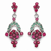 6.40 Grams Genuine Emerald & Ruby Rhodium Plated Brass Earri