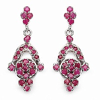 7.11 Grams Genuine Ruby Rhodium Plated Brass Earrings