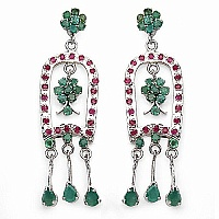 12.60 Grams Genuine Emerald & Ruby Rhodium Plated Brass Earr
