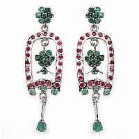 10.89 Grams Genuine Emerald & Ruby Rhodium Plated Brass Earr