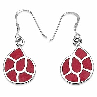 3.34 Grams Red Enamel .925 Sterling Silver Earrings