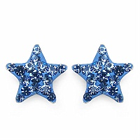 0.80 Grams Blue Crystal .925 Sterling Silver Star Shape Earring