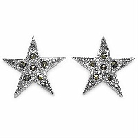 3.00 Grams Marcasite .925 Sterling Silver Star Shape Earrings