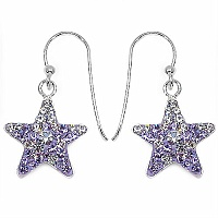 1.60 Grams Purple Crystal .925 Sterling Silver Star Shape Earri