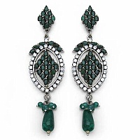 17.30 Grams Emerald & American Diamond Brass Earrings