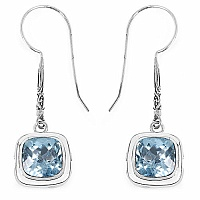 10.22CTW Genuine Blue Topaz .925 Sterling Silver Earrings