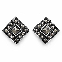 2.20 Grams Marcasite .925 Sterling Silver Earrings