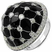 10.70Grams White Cubic Zircon .925 Sterling Silver Black Cub