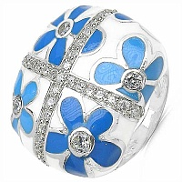 14.60Grams White Cubic Zircon .925 Sterling Silver Blue & Wh
