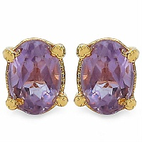 1.70CTW 7x5mm Oval Shape Genuine Amethyst Gold Plated Brass