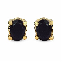 2.00CTW 7x5mm Oval Shape Genuine Sapphire Gold Plated Brass