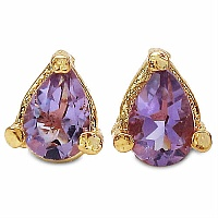 0.80CTW 6x4mm Pear Shape Genuine Amethyst Gold Plated Brass