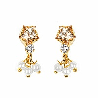 Gleam Touch 1.60 Grams Yellow Cubic Zirconia, White Cubic Zirco