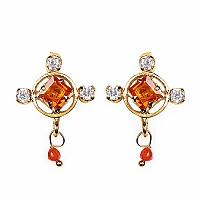 Gleam Touch 3.40 Grams Orange Cubic Zirconia & White Cubic Zirc