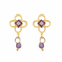 Gleam Touch 2.50 Grams Amethyst Cubic Zirconia Brass Tops