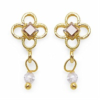 2.40 Grams White Cubic Zirconia Brass Tops