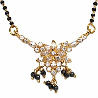 6.10 Grams White Cubic Zirconia Gold Plated Brass Mangalsutra