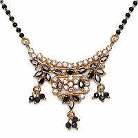 8.80 Grams Black Glass & White Cubic Zirconia Gold Plated Brass