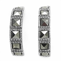 2.80 Grams Marcasite .925 Sterling Silver Earrings