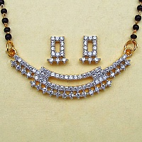 8.40 Grams White Cubic Zirconia Gold Plated Brass Mangalsutra S