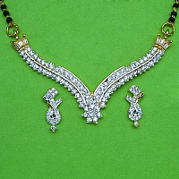 10.60 Grams White Cubic Zirconia Gold Plated Brass Mangalsutra