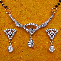 9.40 Grams White Cubic Zirconia Gold Plated Brass Mangalsutra S