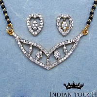 8.60 Grams White Cubic Zirconia Gold Plated Brass Mangalsutr