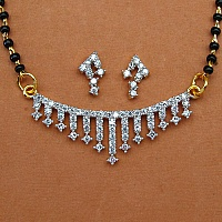 6.60 Grams White Cubic Zirconia Gold Plated Brass Mangalsutra S