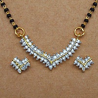 7.80 Grams White Cubic Zirconia Gold Plated Brass Mangalsutra S