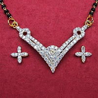 7.40 Grams White Cubic Zirconia Gold Plated Brass Mangalsutra S