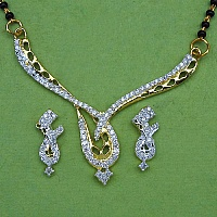 6.80 Grams White Cubic Zirconia Gold Plated Brass Mangalsutra S