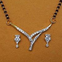 6.00 Grams White Cubic Zirconia Gold Plated Brass Mangalsutra S
