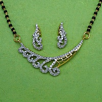 7.20 Grams White Cubic Zirconia Gold Plated Brass Mangalsutra S