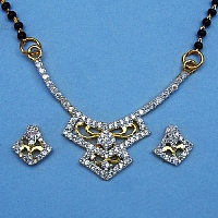 6.40 Grams White Cubic Zirconia Gold Plated Brass Mangalsutra S