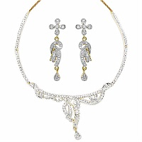 19.40 Grams White Cubic Zircon Gold Plating Necklace Sets