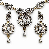 27.60 Grams American Diamond Gold Plated Brass Necklace Set