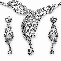 21.20 Grams American Diamond Brass Necklace Set