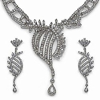 49.50 Grams American Diamond Brass Necklace Set